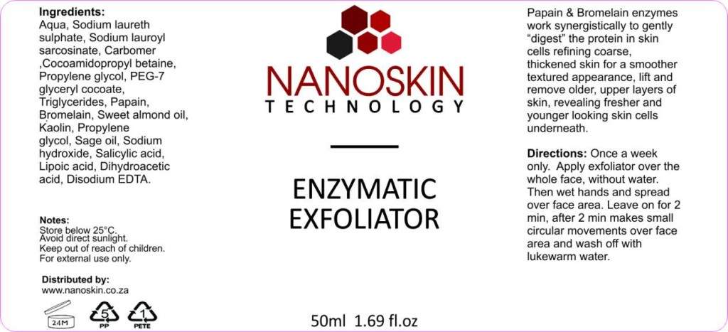 Nanoskin Enzymatic exfoliator get rid of dead and damaged skin without harmig the vital outer layers of the skin