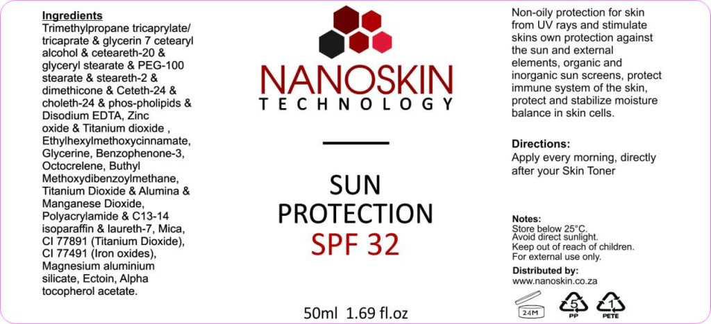 Nanoskin Sun Protecton. Protects from harmful UV rays and boosts skin immune system