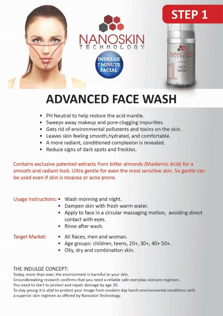 Nanoskin Advanced Face Wash for trouble free skin.